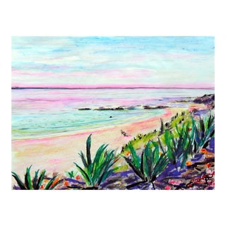 Laguna Beach Watercolor on Paper Painting For Sale