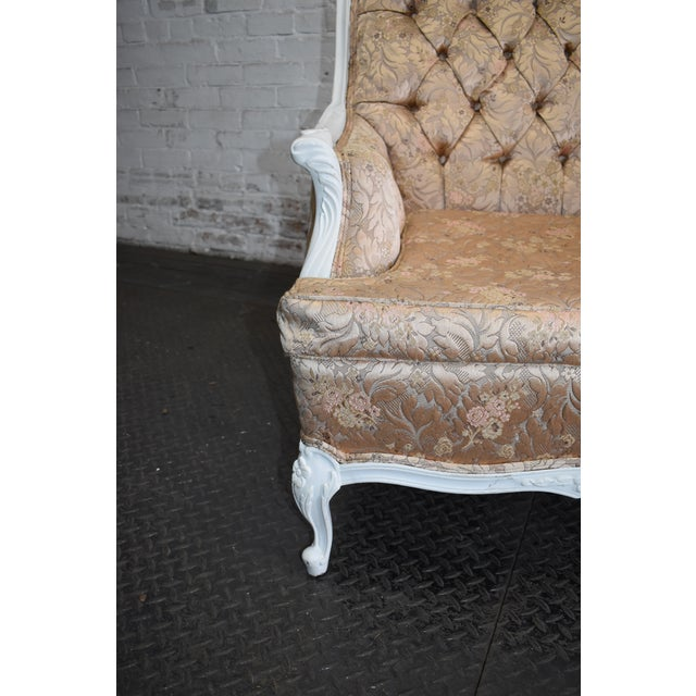 Pink 1950s Vintage French Blush Pink Brocade and White Armchair For Sale - Image 8 of 10