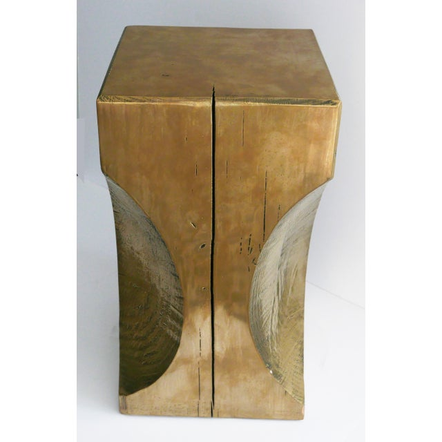 Bespoke Custom MadeTotem Table. Custom handmade from a cut and carved piece of wood. Metallic finish to make aged brass...