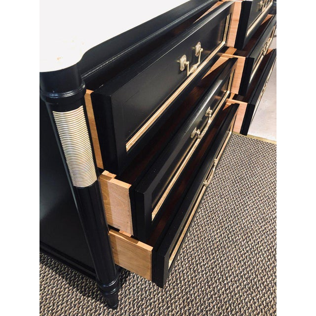 Pair of Large Maison Jansen Style Ebony Dressers Commodes or Chest of Drawers For Sale - Image 10 of 12
