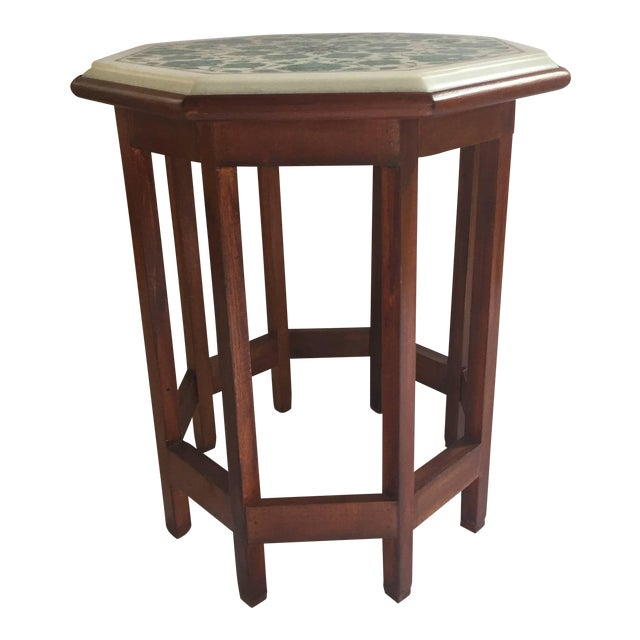 Pietra Dura Marble-Topped Octagonal Table Inlaid in Taj Mahal Anglo Raj Style For Sale