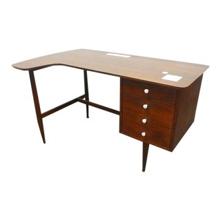 1960s Mid Century Modern American of Martinsville Walnut Writing Desk With Tiled Top For Sale