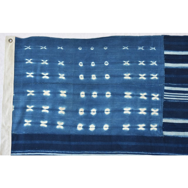 Custom Tailored Blue & White Flag From African Textiles - Image 4 of 8