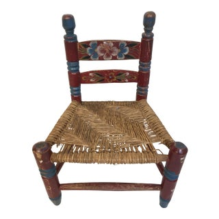 Antique Mexico Rush Seat Hand Red Painted Chair
