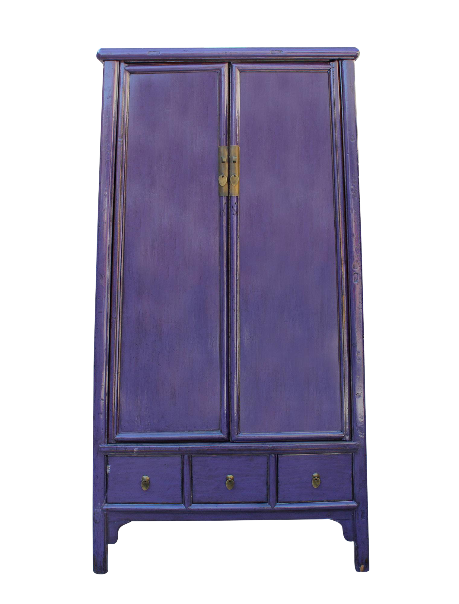 Beau Chinese Distressed Purple Lacquer Ladder Shape Tall Armorie Cabinet
