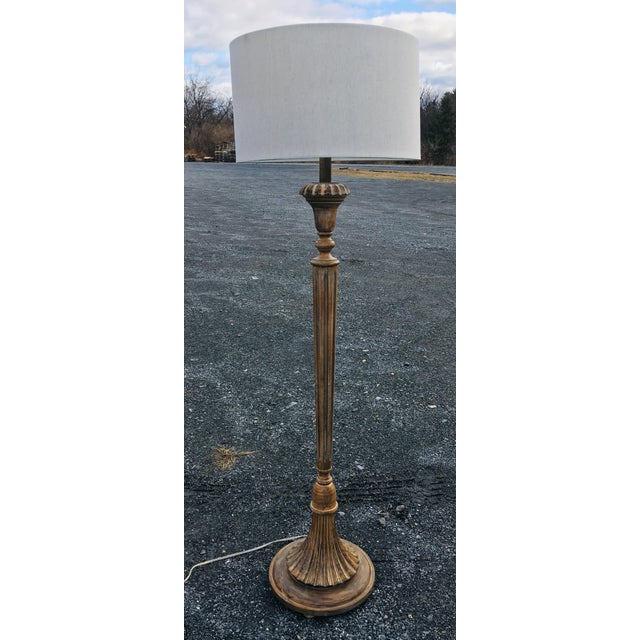 1980s Vintage Carved Wooden Deco Style Floor Lamp For Sale In Philadelphia - Image 6 of 11