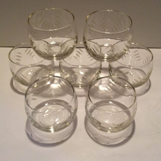 Transparent 1930's Cut Crystal Roly Poly Glasses - Set of 7 For Sale - Image 8 of 11