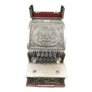 Nickel Coated Brass Antique Cash Register For Sale