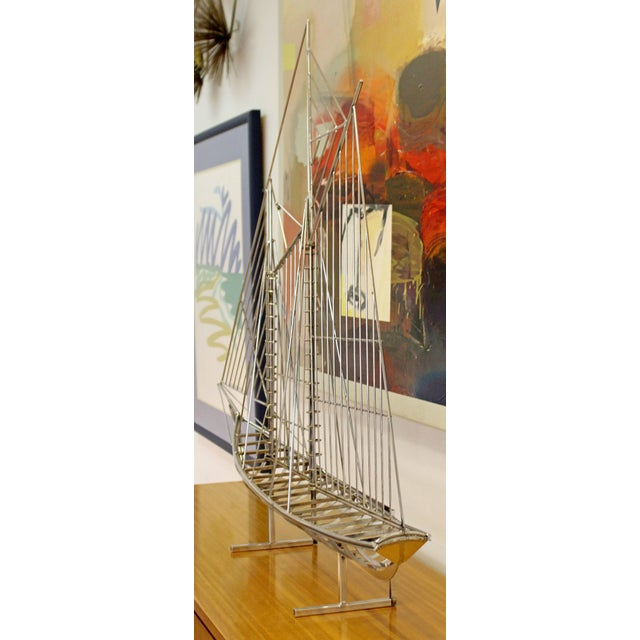 Mid-Century Modern Chrome Sailboat Table Sculpture Signed Curtis Jere, 1970s For Sale In Detroit - Image 6 of 9
