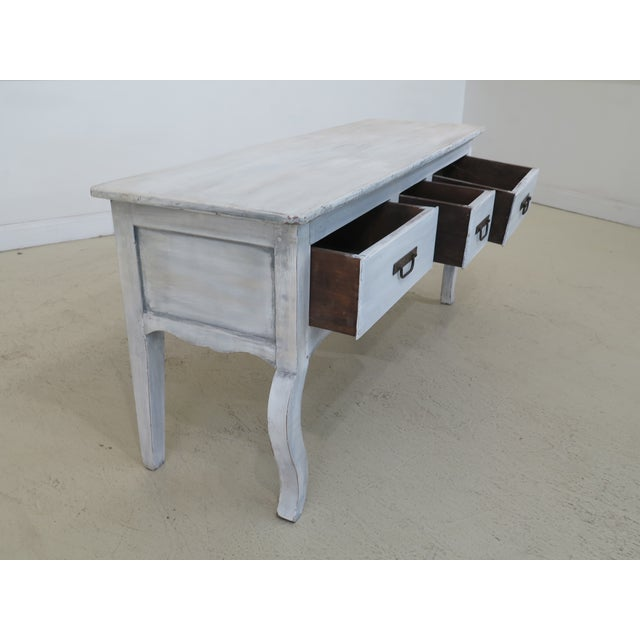 White Shabby Chic Country White 3 Drawer Console Table Server For Sale - Image 8 of 10
