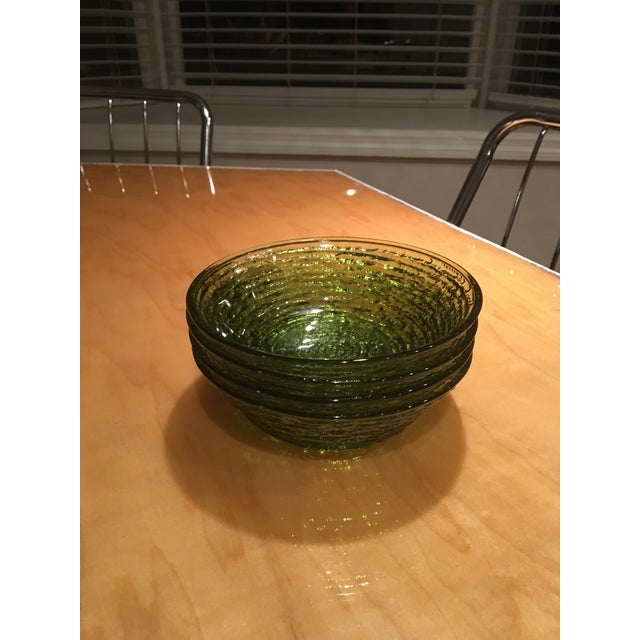 Glass Vintage Libbey Rock Sharpe Olive Green Bowls - Set of 4 For Sale - Image 7 of 7