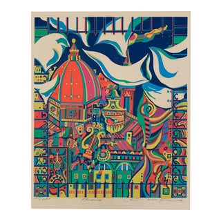 1950s Abstract Colorful Florence Cityscape Print For Sale