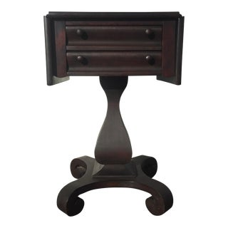 Antique Empire Mahogany Drop Leaf Side Table