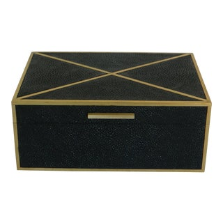 Brass Inlay Shagreen Box For Sale
