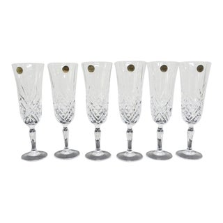 1980s Vintage French Cristal d'Arques Crystal Champagne Flutes- Set of 6 For Sale
