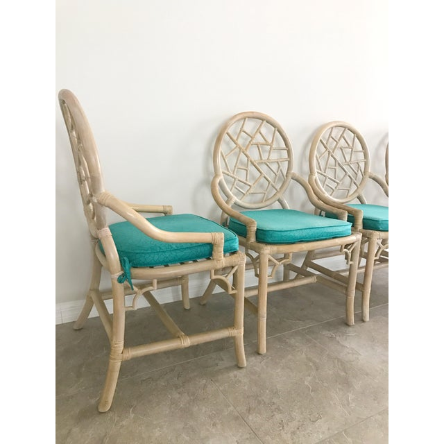 McGuire Vintage McGuire Cracked Ice Rattan Chairs - Set of 4 For Sale - Image 4 of 7