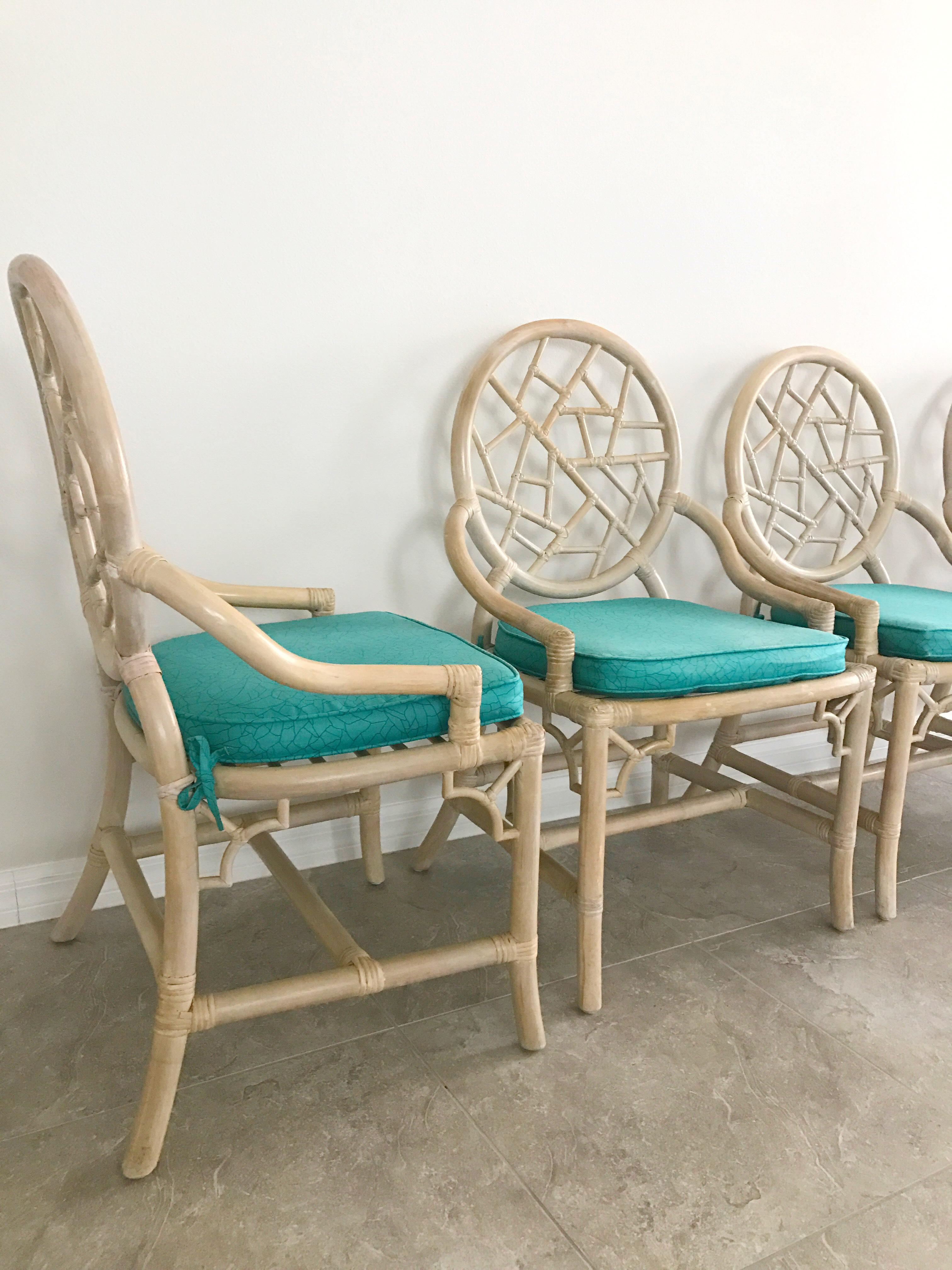 Vintage McGuire Cracked Ice Rattan Chairs   Set Of 4   Image 4 Of 7