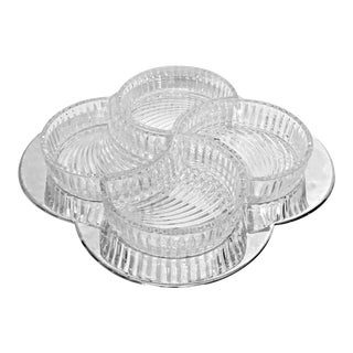 Vintage Crystal & Silverplate Clover Segmented Serving Tray 5 Piece Set For Sale