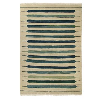Rug & Relic Modern Stripe Turkish Kilim | 3'4 x 4'9 Flatweave