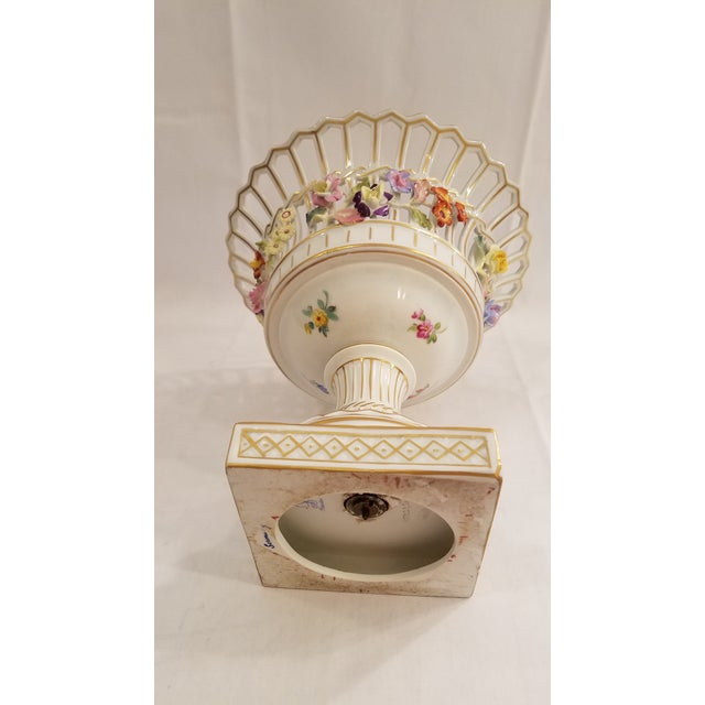 Traditional Dresden Porcelain Compote With Applied Flowers and Pierced Bowl 7.75 Inches Tall For Sale - Image 3 of 8
