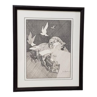 """Andres Desjardins """"Dream Time"""" Original Pen and Ink Drawing C.1976 For Sale"""