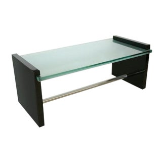 Black Lacquer and Glass Coffee Table Attributed to Jacques Adnet, France, 1970s For Sale
