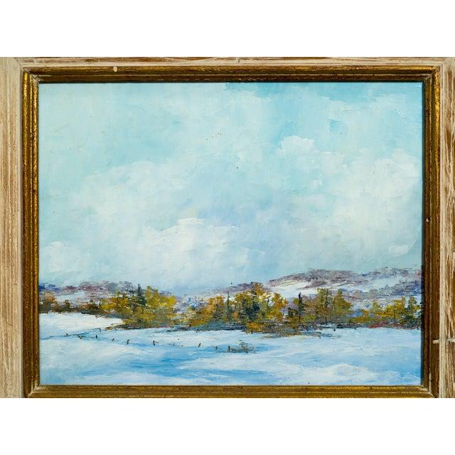 Blue Oil on Board of Landscape For Sale - Image 8 of 9