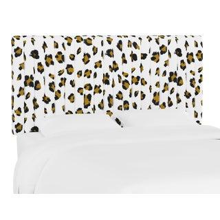Queen Headboard, Brush Cheetah Ochre For Sale