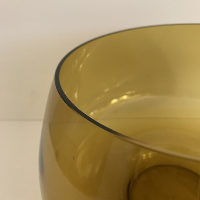 Mid 20th Century Mid Century Amber Glass Centerpiece Large Salad Bowl For Sale - Image 5 of 8