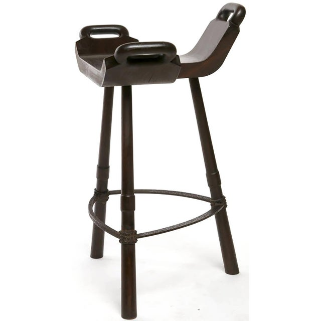 Pair of Primitive Birthing Chair Inspired Bar Stools - Image 2 of 2