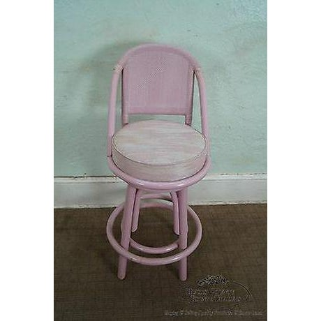 Clark Casuals Vintage Set of 4 Painted Rattan Bar Stools For Sale - Image 4 of 13