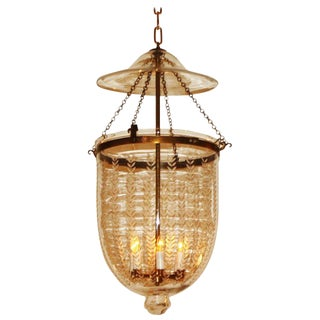 Etched Bell Lantern With Brass Details, C. 1950 For Sale