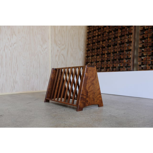 Mid 20th Century John Nyquist Handcrafted Shedua Wood Magazine Rack For Sale - Image 10 of 10