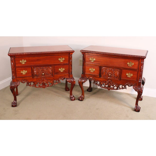 High Quality Pair of Carved Mahogany Lowboys with Dovetailed Drawers and Brass Hardware Store Item#: 23838