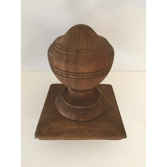Americana Antique Walnut Banister Turned Top Ornament or Newel Post Top Excellent For Sale - Image 3 of 4