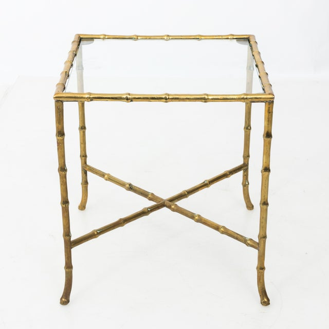 Metal 1960s Hollywood Regency Solid Brass Faux Bamboo Side Table For Sale - Image 7 of 11