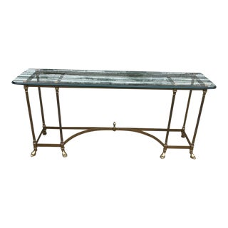 Vintage La Barge Brass Glass Topped Console For Sale