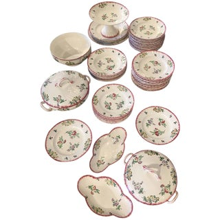 71-Piece Longwy Floral Crockery Set For Sale