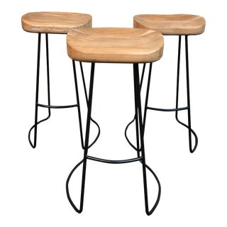 Restoration Hardware Oak Tractor Seat Bar Stools - Set of 3
