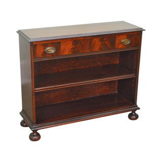 1940s Vintage Flame Mahogany 1 Drawer Low Bookcase