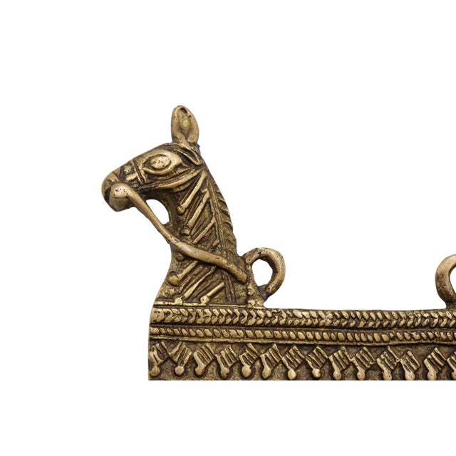 Rustic Bohemian Brass Horse Wall Hooks For Sale - Image 3 of 5