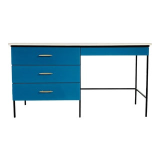 Mid-Century Modern Vista of California Blue Writing Desk For Sale