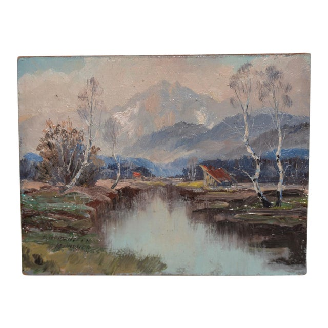 """Wonderful Little """"Munchen"""" Mountain Landscape by Sepp Burghofer Early 20th C. For Sale"""