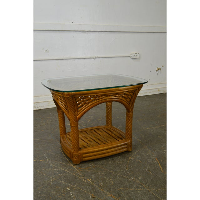 Traditional Crate & Barrel Glass Top Rattan Side Table For Sale - Image 3 of 13
