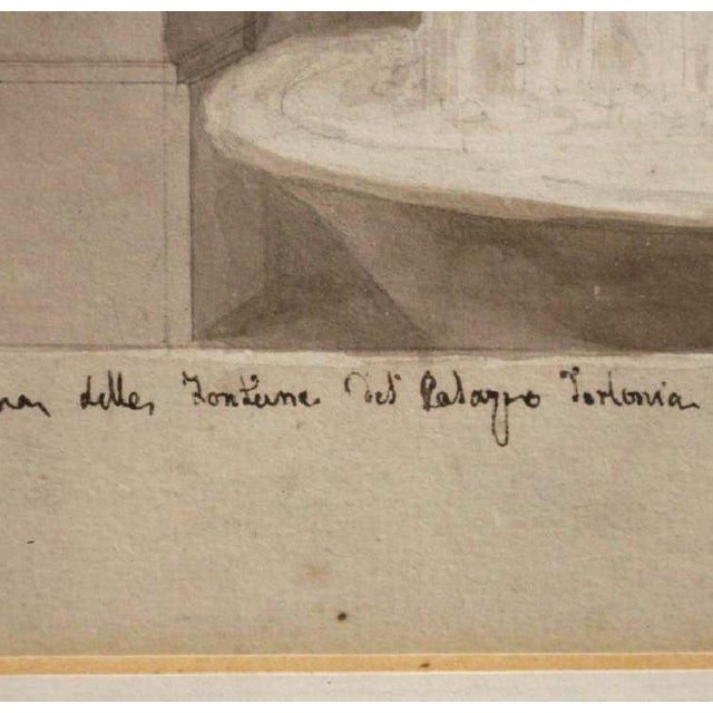 A handsome sketch with sepia watercolor and handwritten ink inscriptions at the bottom. The Palazzo Torlonia, is a...
