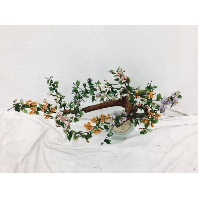 Green Vintage Mixed Stone Bonsai Tree Sculpture For Sale - Image 8 of 11