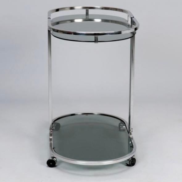 French Mid-Century Chrome and Glass Bar Trolley - Image 5 of 9