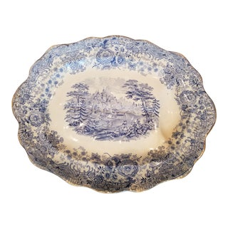Victorian Blue and White Meat Carving Platter