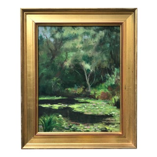 Vintage American Impressionist Oil Painting Landscape by Harry Barton For Sale