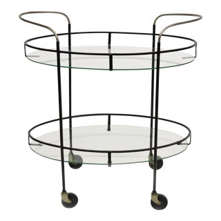 Vintage Mid-Century Modern Atomic Era Iron Metal & Oval Glass Rolling Bar Cart